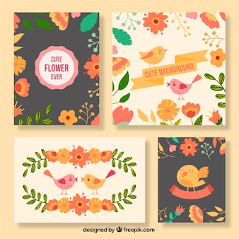 Cute flowers and birds cards