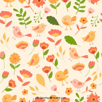 Cute flowers and birds pattern
