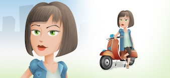 Cute girl on scooter vector character