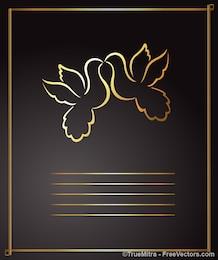 Cute golden birds greeting card