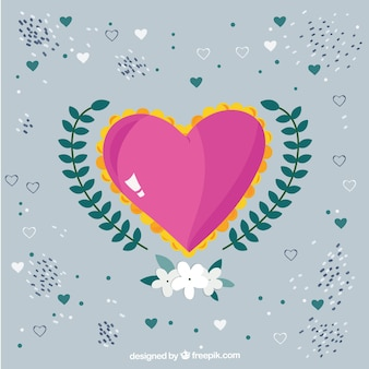 Cute heart with floral decoration