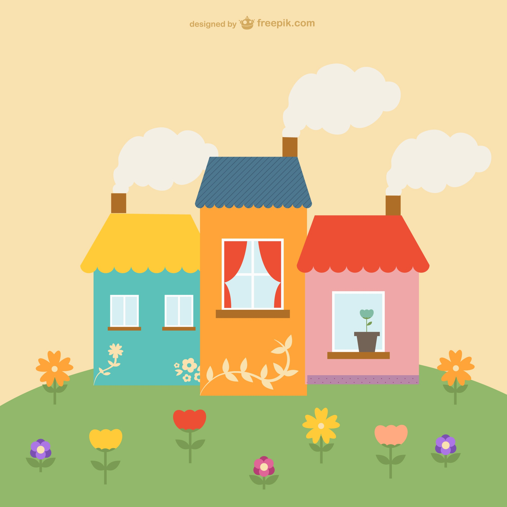 Cute houses and flowers design