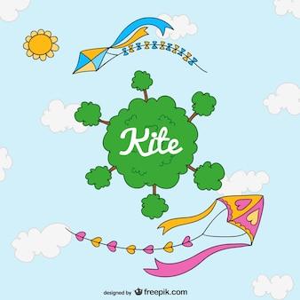 Cute kite cartoon