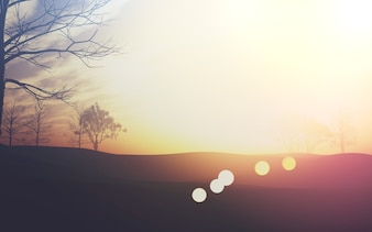 Cute landscape with sunbursts