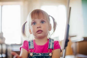 Cute little girl with wide eyes staring