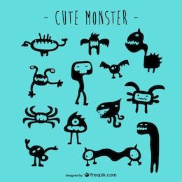 Cute monsters vector set