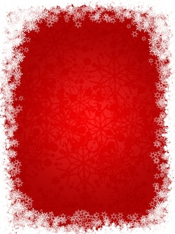 Cute red background with snowflakes for christmas