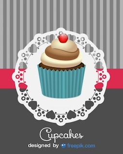 Cute Retro Cupcake Design