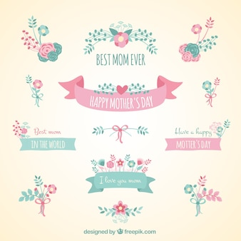 Cute ribbon banners for mothers day