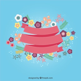 Cute ribbon with flowers