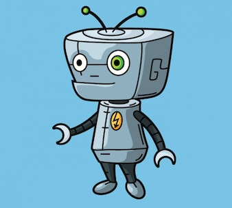 Cute robot character in cartoon design