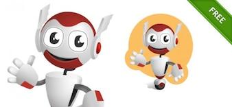 Cute robot on wheel vector character