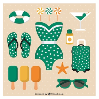 Cute summer icons collection