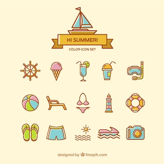 Cute summer icons