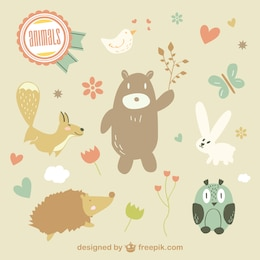 Cute vector animals illustration