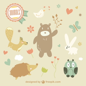 Cute vector animals illustration