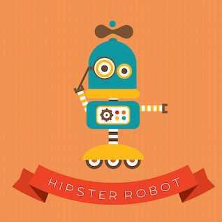 Cute vector hipster robot character