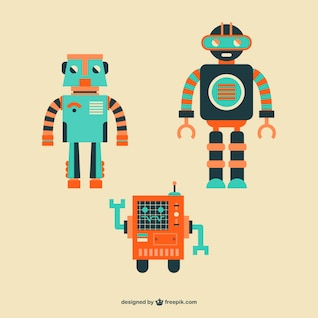 Cute vector robots set