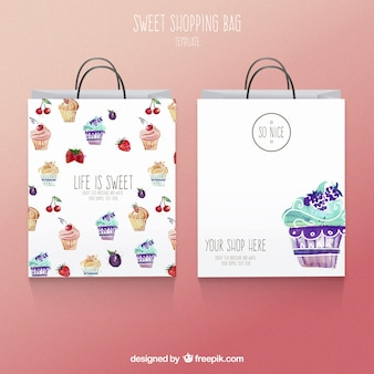 Cute watercolor shopping bags