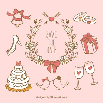 Cute wedding elements in hand drawn style