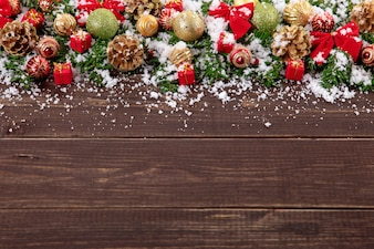Cute wooden floor with christmas decoration