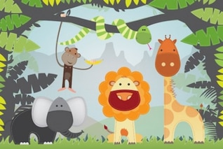 cutout animals jungle illustrator vector