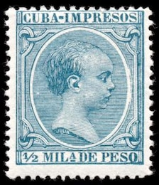 cyan king alfonso xiii stamp  perforation