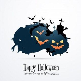 Dark halloween shadows with bats