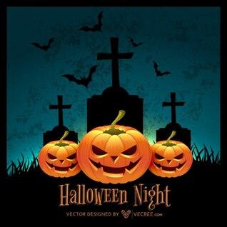 Dark halloween with pumpkin silhouettes
