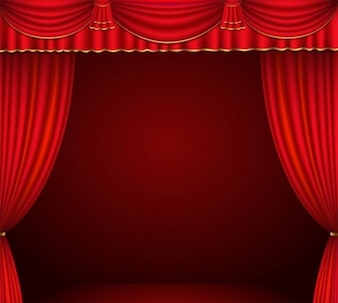 Dark red stage with curtains vector