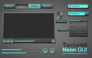 dark textured neon web ui elements kit psd