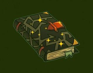 Dark witch book in cartoon style