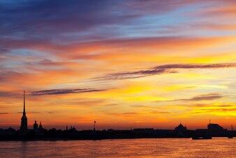 Dawn in Saint Petersburg, Russia