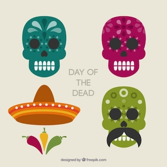 Day of the dead, mexican skulls