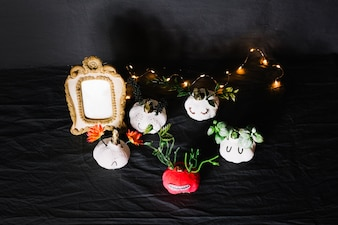 Decorated garlic and string of lights