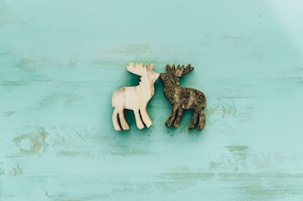 Decoration for christmas with reindeers kissing each other