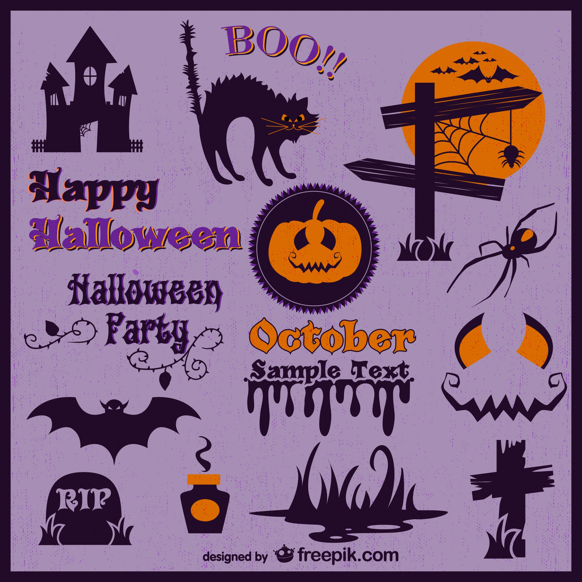 Decoration labels of halloween set