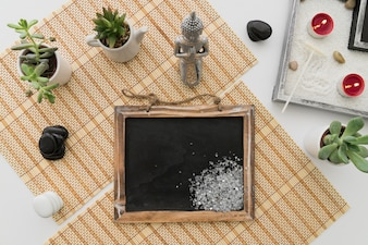 Decoration with chalkboard and salt