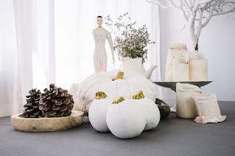 Decoration with white pumpkin