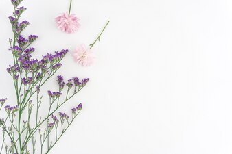 Decorative background with purple and pink flowers