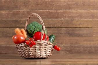 Decorative basket with fresh vegetables