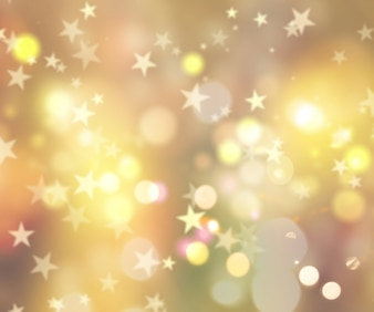 Decorative christmas background of stars and bokeh lights