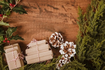 Decorative christmas background with presents
