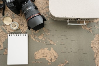 Decorative composition with different travel items