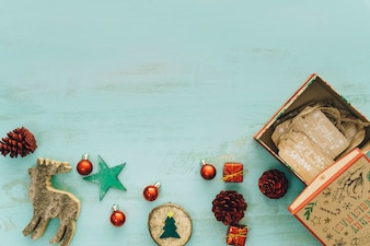 Decorative composition with space for christmas