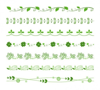 Decorative floral borders vector set