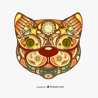 Decorative floral cat design