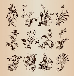 Decorative floral design vector collection