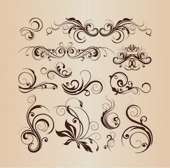 Decorative floral elements vector collection