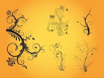 Decorative floral elements vector designs
